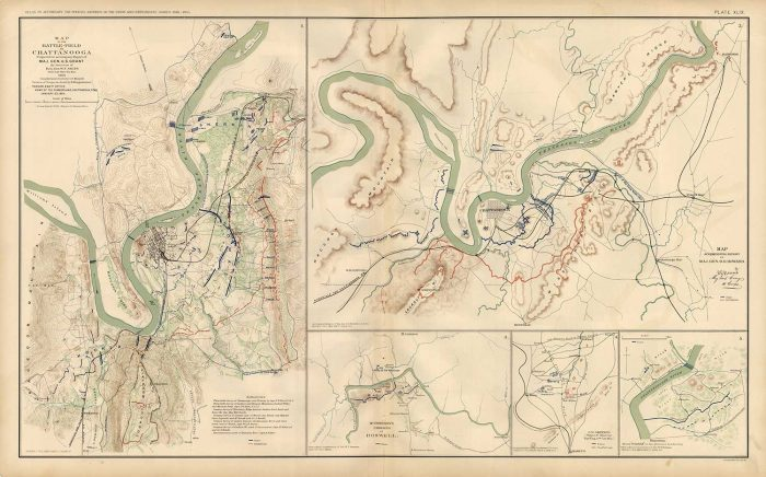 Civil War Atlas; 1892; Plate 49; Map Battlefield Chattanooga
