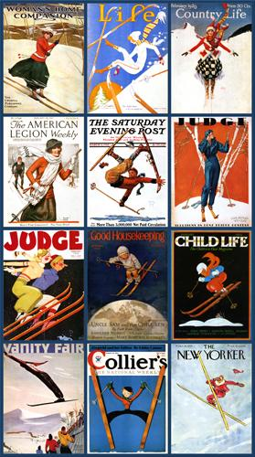 Vintage Magazine Covers Collage- Skiing