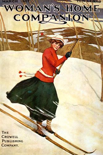 Vintage Skiing Magazine Cover - Woman's Home Companion