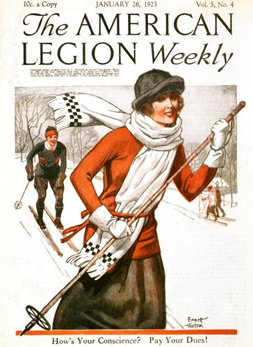 Vintage Skiing Magazine Cover - The American Legion Weekly