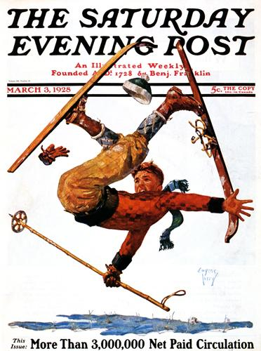 Vintage Skiing Magazine Cover - The Saturday Evening Post