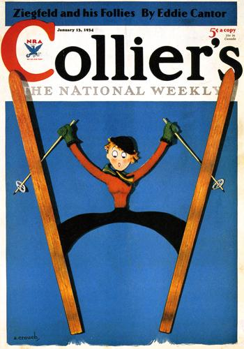 Vintage Skiing Magazine Cover - Collier's The National Weekly