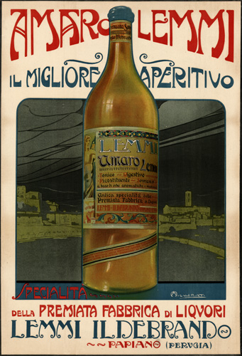 Amaro Lemmi Aperitivo Fabbrica di Liquori Lemmi Ildebrando Papiano