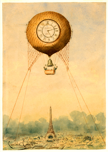 Captive balloon with clock face and bell