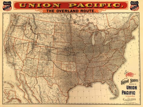 A correct map of the United States showing the Union Pacific