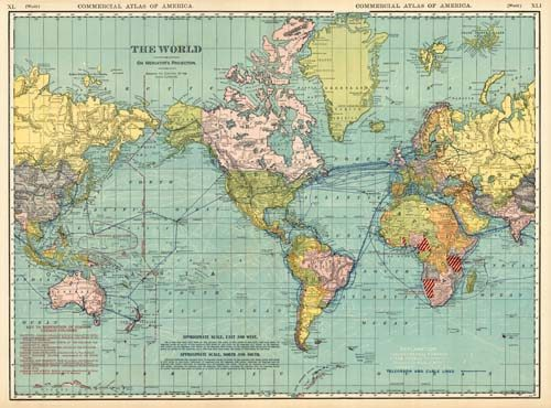 The World on Mercator's Projection Showing the Direction of the Ocean Currents