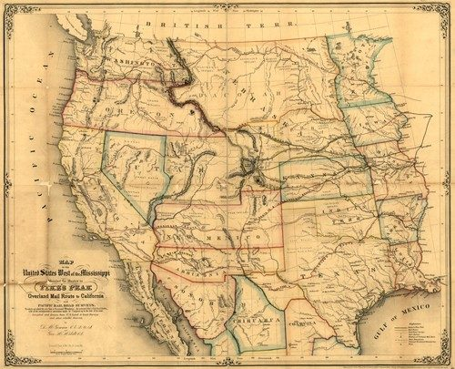 Map of the United States West of the Mississippi Showing the Routes to Pike's Peak