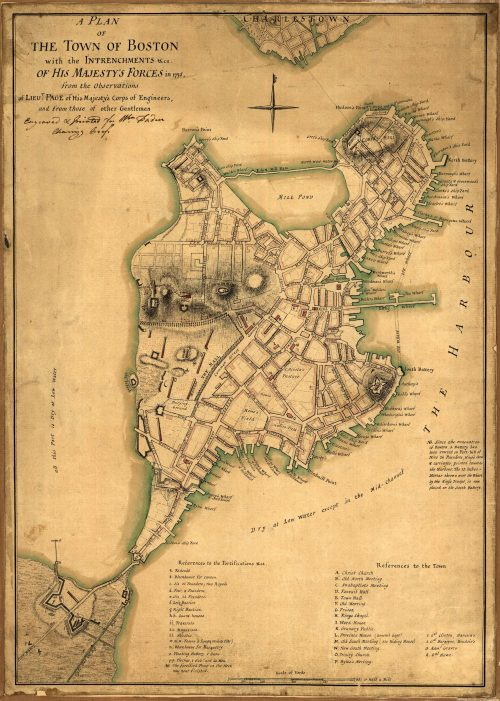 A plan of the town of Boston with the intrenchments of His Majesty's Forces