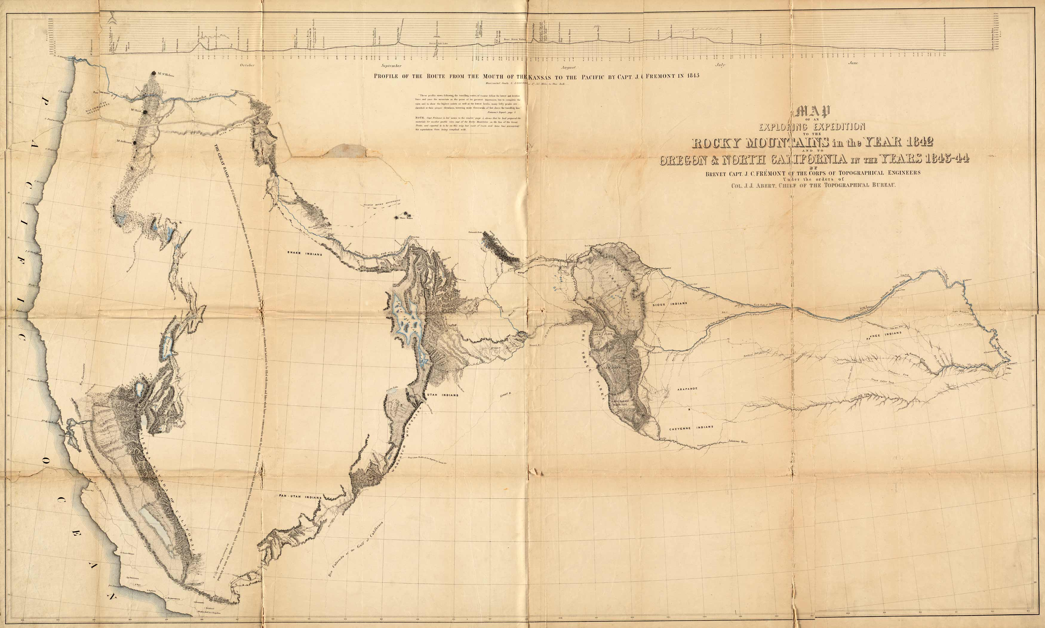 Map Of An Exploring Expedition To The Rocky Mountains In The Year 1842 And To Oregon North California In The Years 1843 44 Art Source International