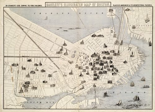 Bartlett's illustrated map of Boston