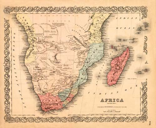 Old map of Africa by Joseph Colton