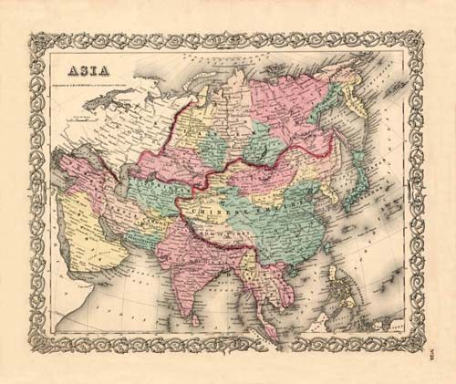 Old map of Asia by Joseph Colton