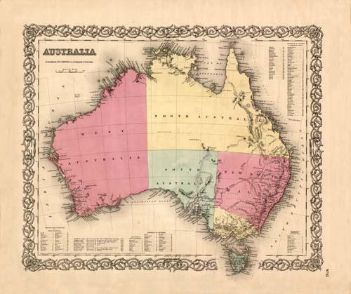 Old map of Australia by Joseph Colton