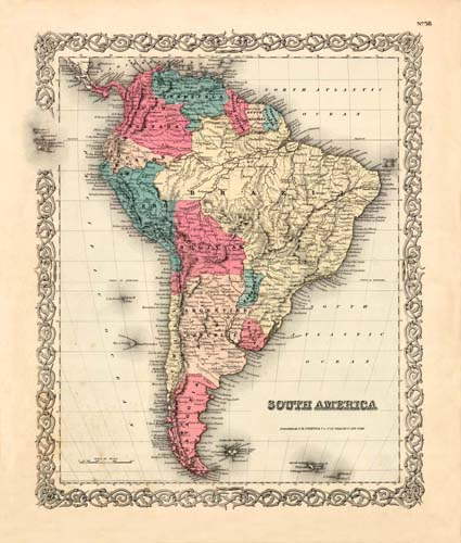 Old map of South America by Joseph Colton