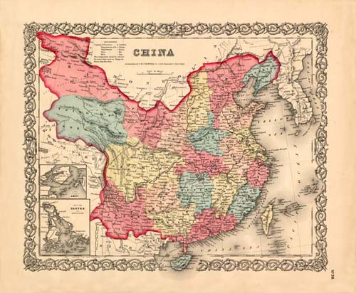 Old map of China by Joseph Colton