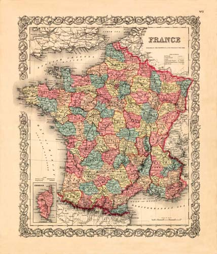 Old Map Of France.Old Map Of France By Joseph Colton