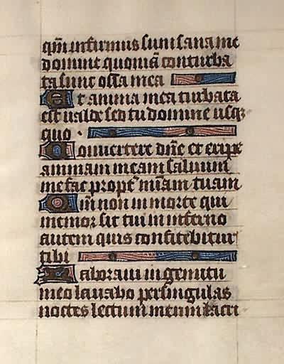 Medieval Book of Hours Leaf