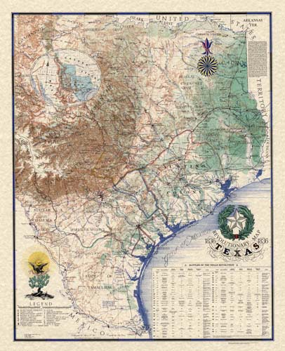 Sesquicentennial Map of Texas 1836-1986 (Texas Revolution 1835-1836)