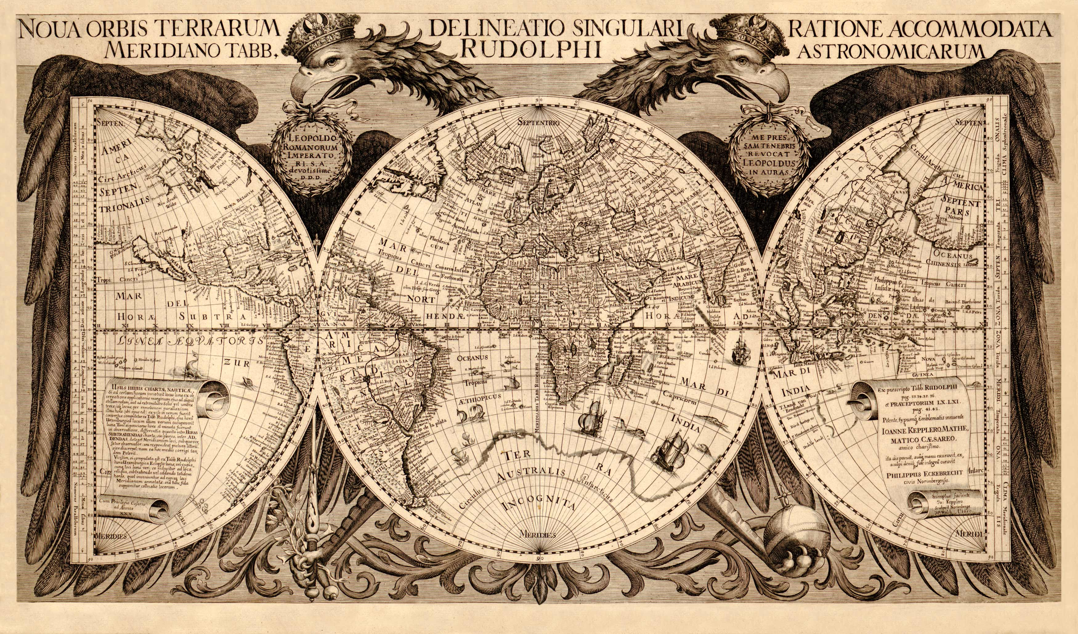 Nova Orbis Terrarum Delineatio Singulari Ratione Accommodata Meridiano Tabb. Rudolphi Astronomicarum