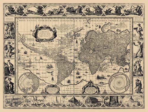 Old World Map by Willem Blaeu in 1606
