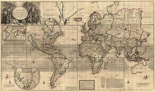 Old World map by Herman Moll in 1719