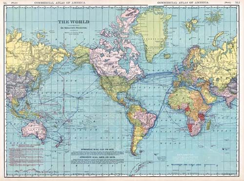 Old World Map by Rand McNally in 1920