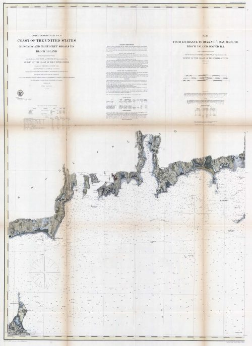 Coast Charts Nos. 11 12 & 13 Monomoy and Nantucket Shoals to Block Island & From Entrance to Buzzards Bay Mass. To Block Island Sound R.I. '