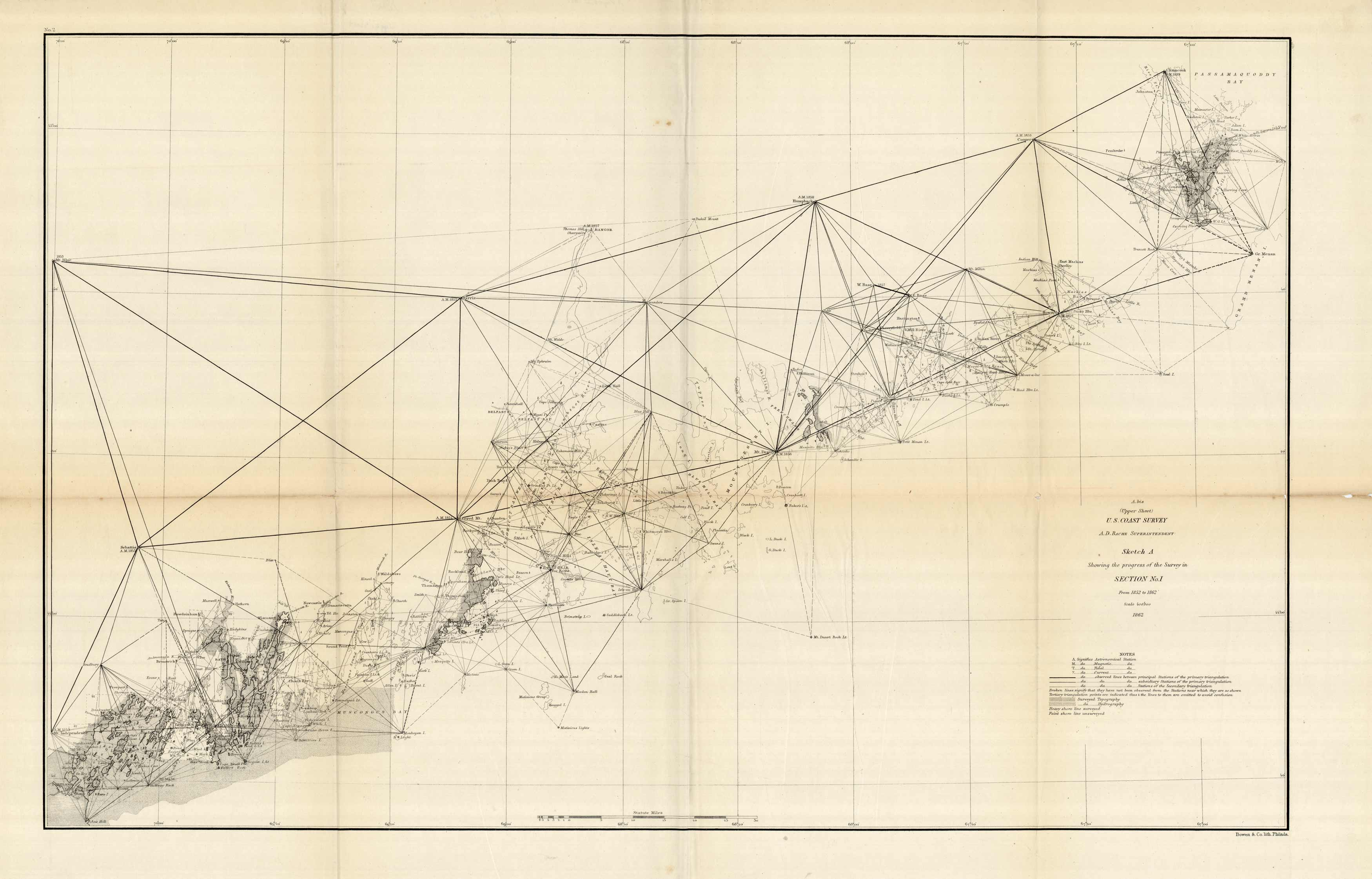 (Upper Sheet) U.S. Coast Survey - Sketch A Showing the Progress of the Survey in Section No. I - 1862