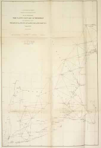 acs U.S. Coast Survey Sketch Illustrating the Nantucket Arc of Meridian and Adjustment of the Triangulation of Long Island Sound massachusetts