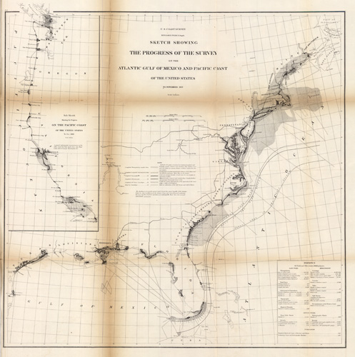 Sketch Showing the Progress of the Survey on the Atlantic Gulf of Mexico and Pacific Coast of the United States