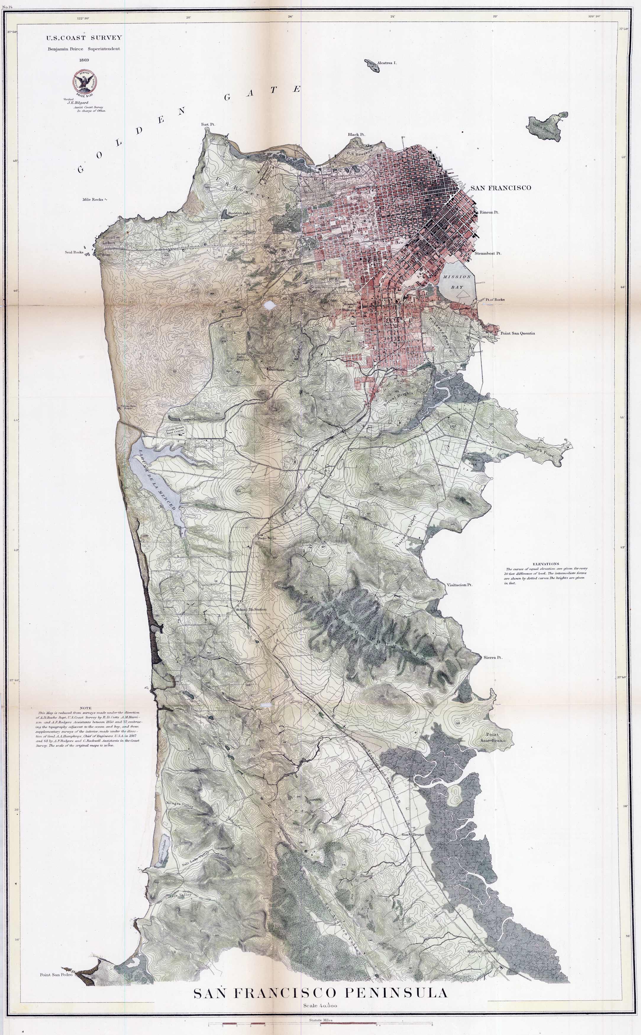 U.S. Coast Survey of San Francisco Peninsula