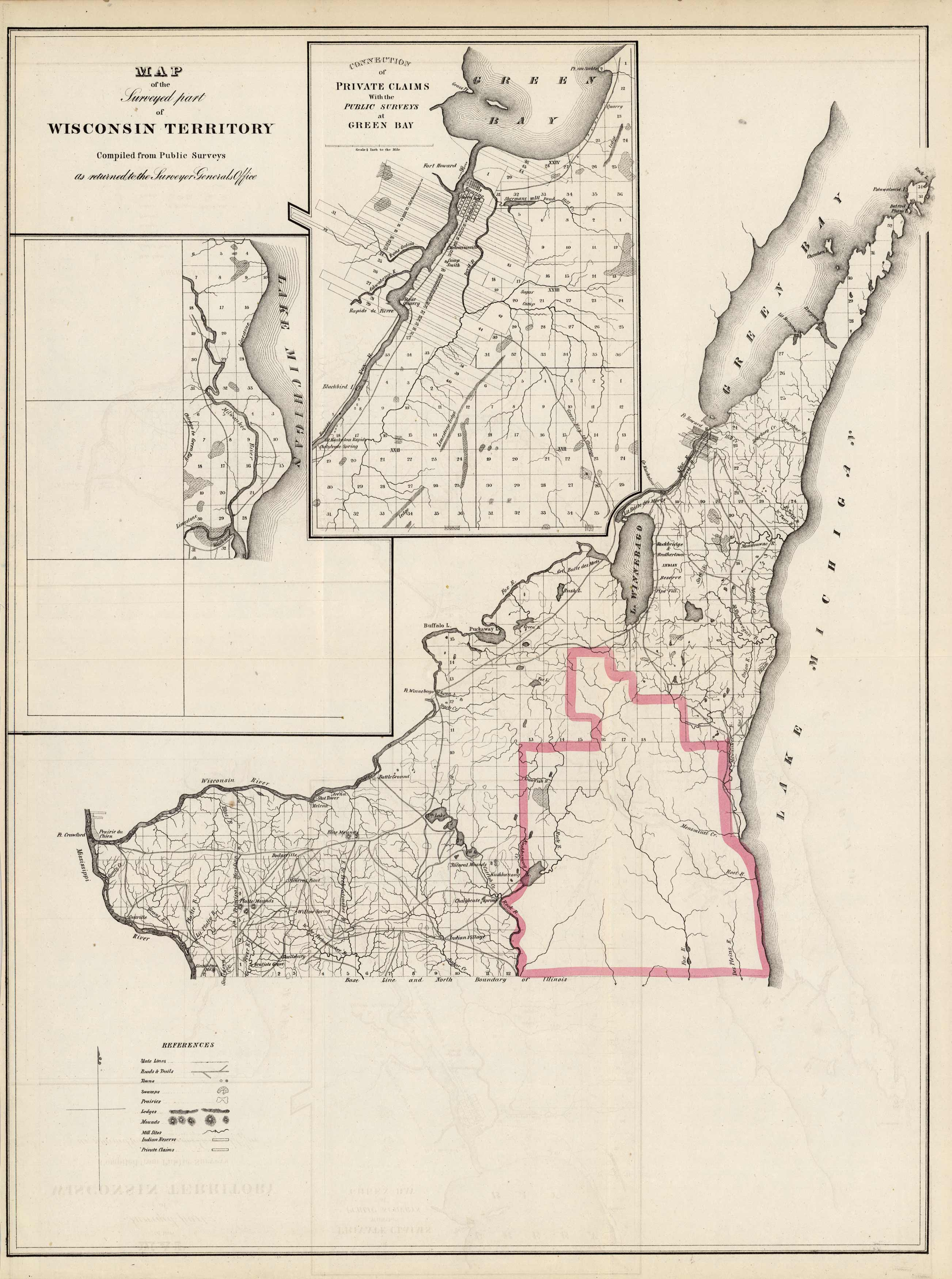 Map of the Surveyed part of Wisconsin Territory