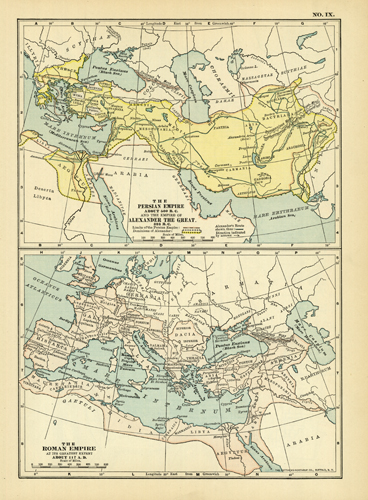 The Persian Empire about 500 B.C. and the Empire of Alexander the Great 323 B.C. / The Roman Empire at its Greatest Extent about 117 A.D.