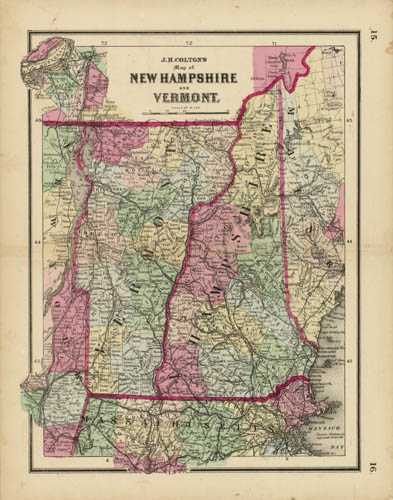Map of New Hampshire and Vermont