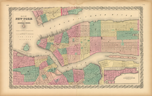 Map of New York and the Adjacent Cities