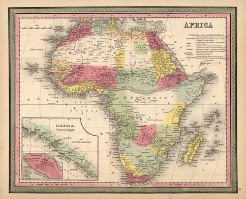 Africa (with an inset map of Liberia and Monrovia)