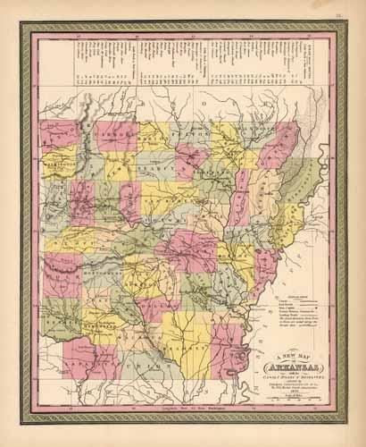 Arkansas with its Canals Roads & Distances