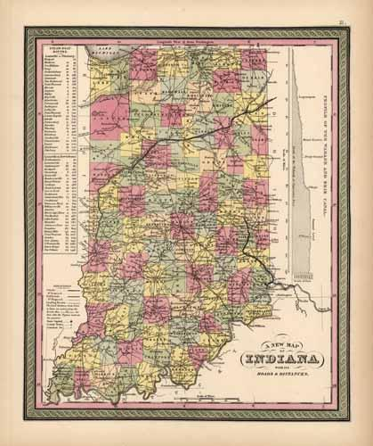 Indiana with its Roads and Distances