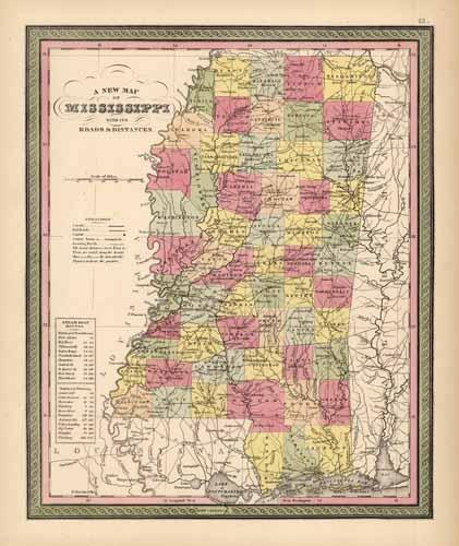 Mississippi with its Roads & Distances
