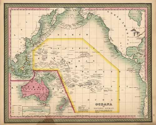 Oceana or Pacific Ocean (with an inset map of Wilkes Discoveries on a Reduced Scale)'