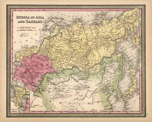 Russia in Asia and Tartary (with an inset map of the Western Part of Russia)