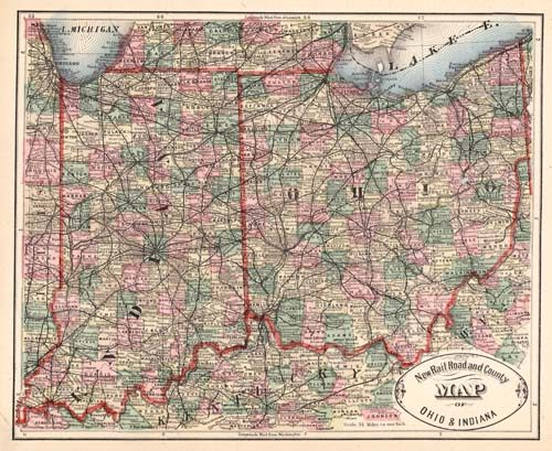 New Rail Road and County Map of Ohio & Indiana