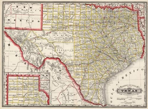 Railroad and County Map of Texas