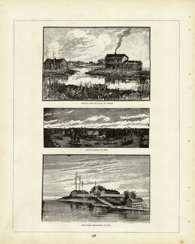 Wolfs and Miller's Taverns/Wolf's Point in 1870/Old Fort Dearborn in 1803 (1893 Chicago World's Fair)'