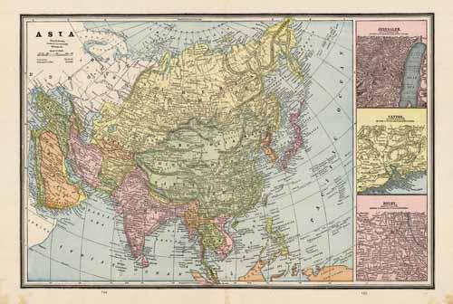 Asia with insets of Jerusalem