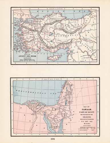 Ancient Asia Minor / Map of Canaan Part of Egypt and the route of the Israelites Through the Wilderness