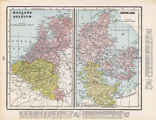 Map of Holland and Belgium and Map of Denmark
