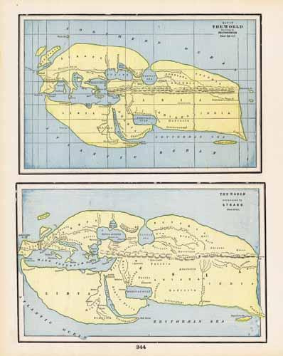 Map of the World According to Eratosthenes. The World According to Strabo.
