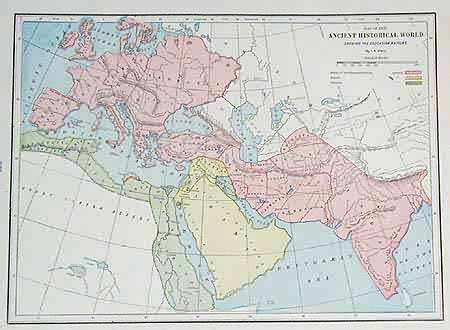 Map of the Ancient Historical World Showing the Caucasian Nations