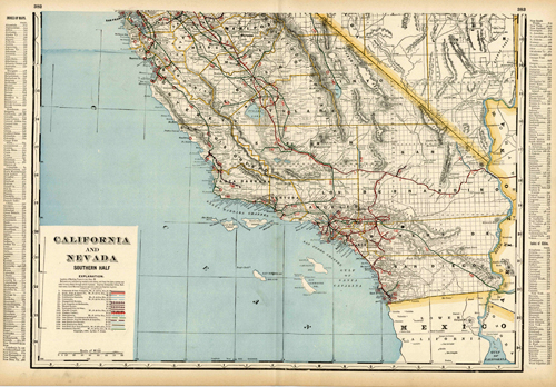 California and Nevada Souther Half (Railroad Map)